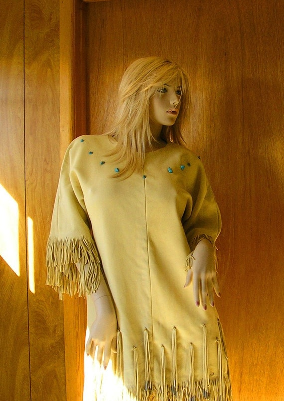 RESERVED for CONNIE  - Buckskin dress, Native American style tunic, with fringe, jingle cones and turquoise stones (small to medium)