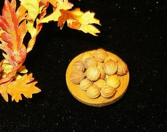 1/12 Scale (Dollhouse) Walnuts in a Wooden Bowl - Indoor Fairy Garden
