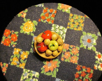 1/12 Scale (Dollhouse) Walnuts and Apples in a Wooden Bowl Autumn Fall Treat or Snack - Indoor Fairy Garden