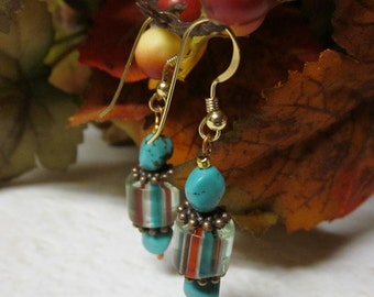 Indian Summer - Turquoise, Carnelian, and White Cane Glass Beaded Earrings