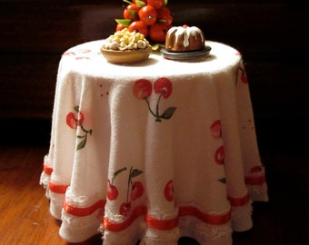 1/12 Scale (Dollhouse) White Cloth Covered Table with 1940s Inspired Red Cherries Print - Indoor Fairy Garden