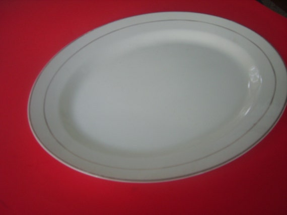 Vintage Platter White with Gold Band Homer Laughlin