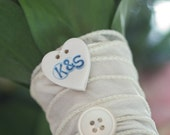 Personalised Heart Shape Porcelain Button great wedding favour