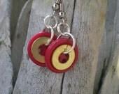 Buttons & Brass earrings, industrial earrings, button earrings, washer earrings, brass washers, brass earrings