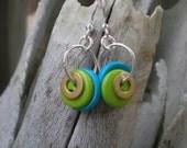 Button washer earrings, button earrings, washer earrings, industrial earrings, brass washer earrings, hardware