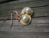 Washer earrings, earrings, brass earrings, industrial earrings, pearl earrings