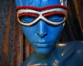Speed Racer Glitter White Vinyl Zipper Mask ON SALE 45% off