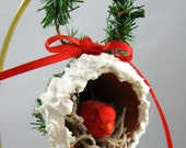 Red Bird Nesting in A Red Flower Pot Ornament