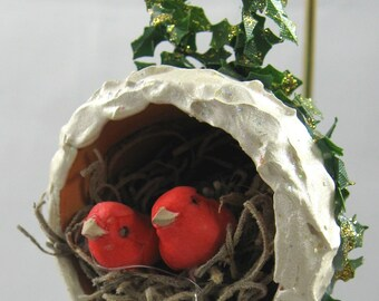 Birds Nesting in a Flower Pot Christmas Ornament 210