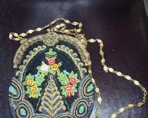 Womens  Purse - Heavy Beaded India Silk Purse with attached Mirror  Marked Christiana