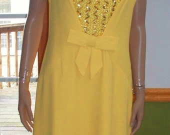 Womens  Dress Yellow dress Sequin Decor-Sleeveless-Mod Womens  Vintage Dress