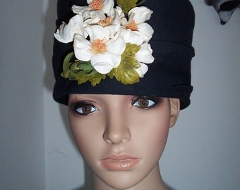 Womens Hat  Black with Floral White/Yellow Centers ~  An  Original by Sophia Borzuchwski with  Black  Vintage  Hat Pins