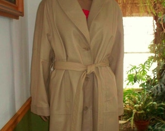 Women's Leather Full-Length Maxi Leather Coat / Button out Lining~  Terry Lewis Classic Vintage Leather Coat