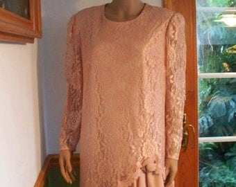 Womens Lace dress  Dusty Rose  -Long Sleeve  Dress Cocktail /Party Formal Vintage Womens Dress