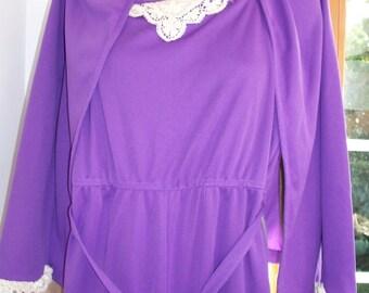 Womens Jumpsuit - Sun Suit Purple  Lady Blair - Vintage Pantsuit Sleeveless-with Jacket Polyester
