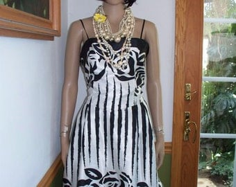 Womens Sundress Black &  White Abstract- Rose Party Sundress Women's Vintage Dress