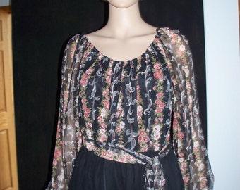 Womens  Dress Maxi Dress ~ BoHo Sheer Long  Sleeve - Womens  Vintage Maxi Dress