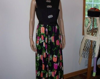 Womens Sleeveless- Maxi Dress - Tulips  - Bold Bright Floral graphic ~  POP ART Deco Dress  Womens Vintage 70s