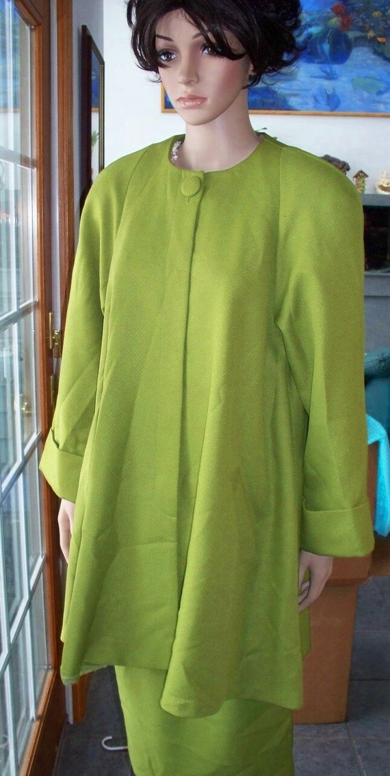 Swing Coat with Pencil Skirt Vintage 60's Mod Swing Retro  Color GREEN