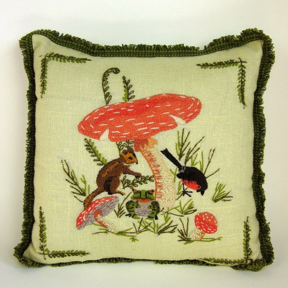 Sale // Vintage Forest Friends Crewelwork Pillow