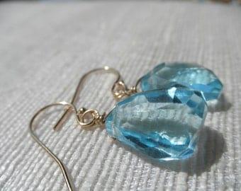 Blue earrings - gold earrings - swiss blue topaz earrings - E A R R I  N G S 167