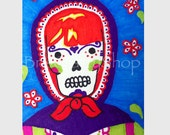 ACEO Sugar Skull Matryoshka Drawing with Red Spotted Flowers