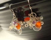 bedazzle tropical cluster earrings / quartz citrine peridot amethyst labradorite carnelian silver // birthstone