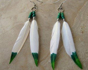 Feather Earrings - White and Green Ombre Painted Feathers, Beaded - Emerald Eagle