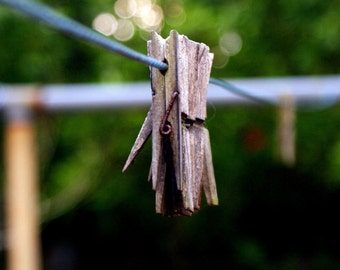 Hanging by a Wire - Clothes Pin Laundry Room Photography Green Fine Art Print Wall Hanging Decor - 8x10 Photograph