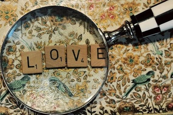 LOVE Photograph, Still Life Photography, Scrabble Tile Print, Wedding Art, Fine Art Print, Valentine's Day, Brown Tones, Home Decor