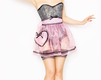 Boudoir apron - pink organza with heart pocket - 1950s inspired hostess apron - free shipping