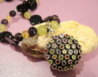 Timeless,  Garnets, Amethyst, Citrine and Peridot Necklace