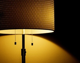 CLEARANCE 50% OFF Sale Photograph Warm Orange Glow Illuminated Yellow and Black Lamp Light and Textured Shade Shadow Fine Art Print
