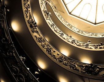 Photograph Roman Sepia Spiral Momo Architecture Staircase in the Vatican City Museum Rome Italy Travel Art Print Office Home Decor