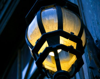 Photograph Large Quebec City Outdoor Spherical Yellow and Blue Glass Lantern Lamp Light in Canada Vertical Travel Art Print Home Decor