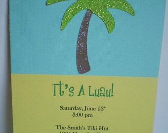 Luau Party Invitations, Luau Shower Invitation, Palm Tree Invitation, Tropical Party Invitation, Beach Invitation, Luau Invite, Set of 12