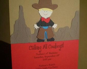 Cowboy Party Invitations, Cowboy Invitation, Cowboy Birthday, Western Invitation, Boy Birthday Invitation, Cowboy Birthday Party, Set of 12
