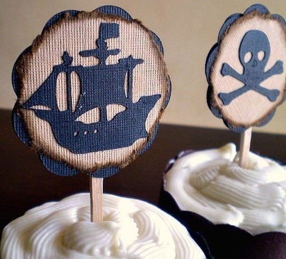 Pirate Party Cupcake Toppers, Treasure Map, Pirate Cupcake Topper, Pirate Birthday Party, Pirate Shower, Pirate Ship Topper, Set of 12