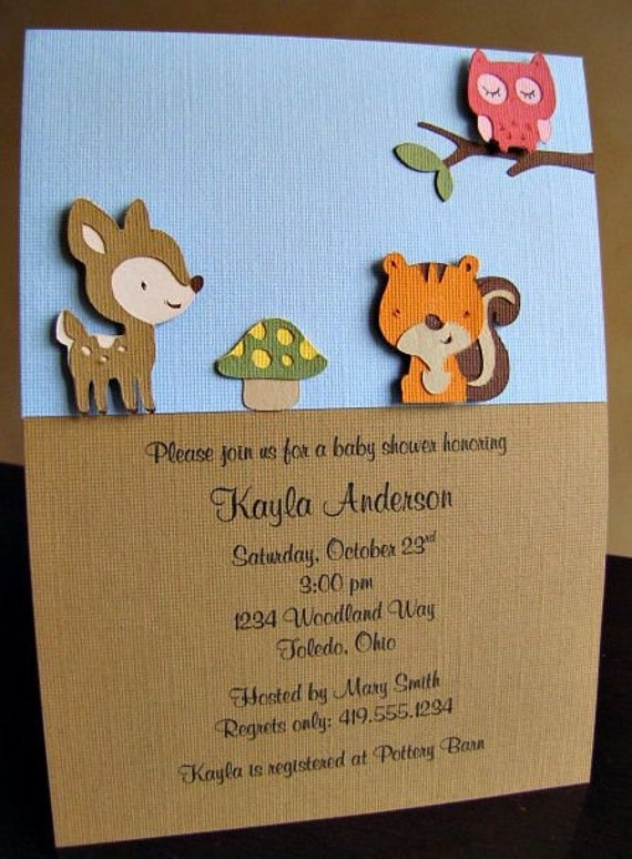 Woodland Party Invitations, Woodland Birthday Invitation, Woodland Baby Shower Invitation, Woodland Invitation, Forest Animal, Set of 12