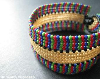Khepri Stripe Bracelet. Egyptian Pattern Handmade Beaded Herringbone Cuff