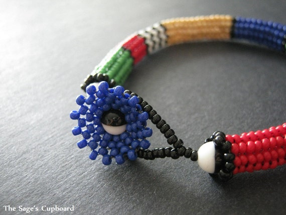 Color Block Rope Bracelet. Beaded Primary Colors with Black and White Stripes