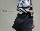 Sale 20%OFF-Charcoal Gray with handle and removable/adjustable strap canvas tote/messenger/school bag/laptop bag/For Her/For Him-045