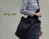 Sale 20%OFF-Charcoal Gray with handle and removable/adjustable strap canvas bag/tote/messenger bag/school bag/Diaper bag/handbag-045