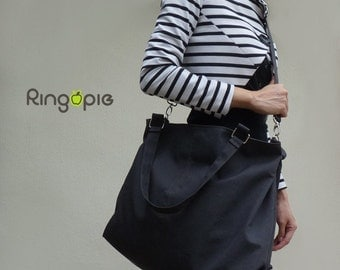 Sale 20%OFF-Charcoal Gray with handle and removable/adjustable strap canvas bag/tote/messenger bag/school bag/Diaper bag/handbag-045