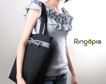 Sale 20%OFF-Ready to Ship-Zipper Tote in Black/shoulder bag/handbag/school bag/tote/casual bag/market bag/marekt bag/women/For Her - 028