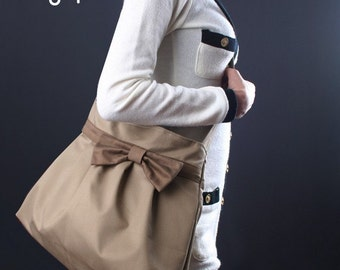 Sale 20%OFF-Khaki Bow Pleated Bag with adjustable strap/tote/handbag/messenger bag/shoulder bag/purse/casual bag/For Her 043-Ready To Ship