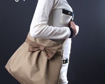 Sale 25%OFF-Khaki Bow Pleated Bag with adjustable strap/tote/handbag/messenger bag/shoulder bag/purse/casual bag/For Her 043-Ready To Ship