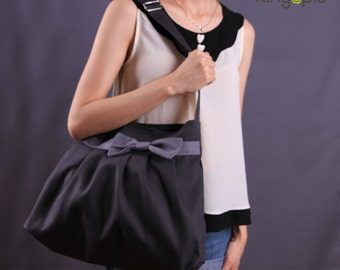 Sale 25%OFF-Ready To Ship-Gray Bow Pleated Bag with adjustable strap/tote/messenger bag/women/handbag/school bag/shoulder bag/For Her-053