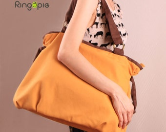 Ringopie Everyday Canvas Tote(Mustard)/purse/diaper/laptop/shoulder/bags/school/casual/handbags/totes/women/For Her-052