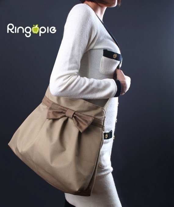 Sale 20%OFF-Khaki Bow Pleated Bag with adjustable strap/tote bag/handbag/messenger bag/shoulder bag/purse/casual/For Her 043-Ready To Ship